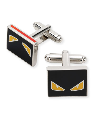 Small Monster Cuff Links, Black