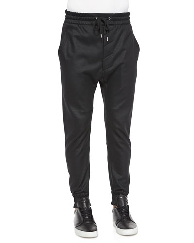 Cotton-Knit Sweatpants, Black