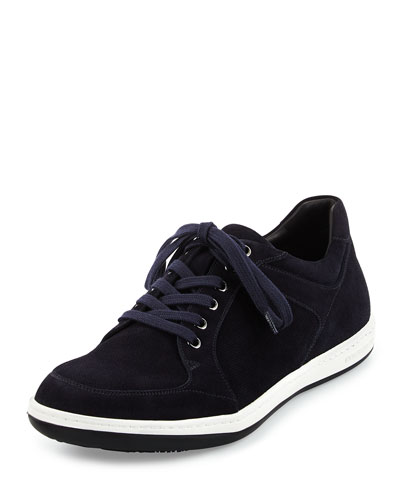 Mod Perforated Suede Low-Top Sneaker, Navy