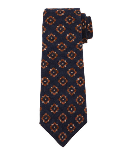 Textured Medallion-Print Silk Tie, Navy/Brown