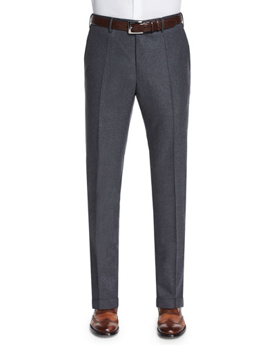 Wool/Cashmere Flannel Trousers, Charcoal