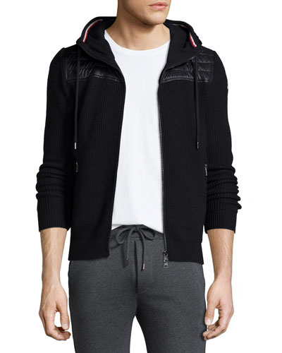 Hooded Zip-Up Sweater with Nylon, Black