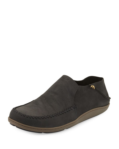 Olukai Akahai Leather Slip-On Moccasin-Style Shoe