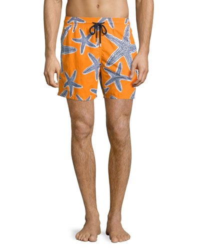 Moorea Starlets Starfish-Print Swim Trunks, Orange