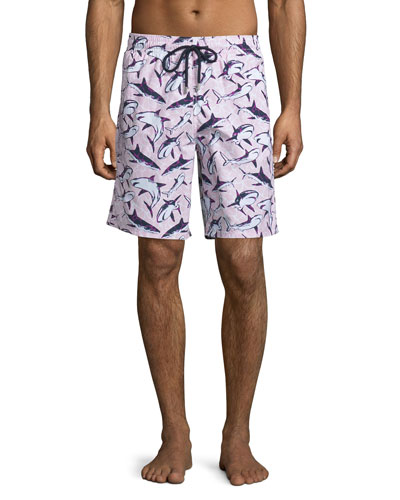 Okoa Shark-Print Swim Trunks, Pink