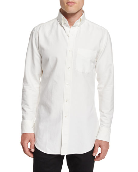 Tom ford tailored fit washed oxford dress shirt white for Tailored fit dress shirts