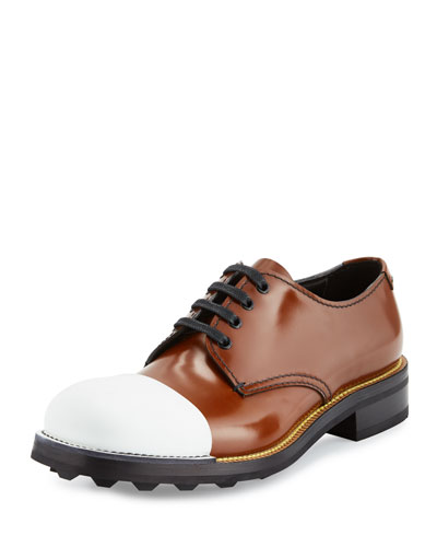 Cap-Toe Leather Oxford, Brown/White