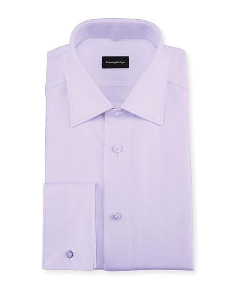 Ermenegildo zegna twill cotton french cuff dress shirt for Purple french cuff dress shirt