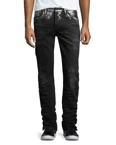 Demon Paint-Splatter Slim-Straight Jeans