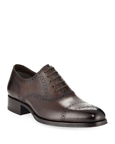 Edgar Medallion Cap-Toe Shoe, Brown