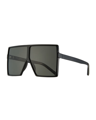 183 Betty Flat-Top Square Shield Sunglasses