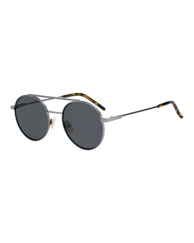 Air Men's Circular Metal Sunglasses, Dark Gray
