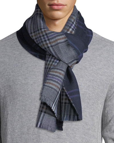 Double-Face Plaid Wool Scarf