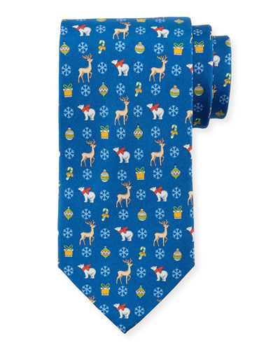 Polar Bears-Print Silk Tie, Blue