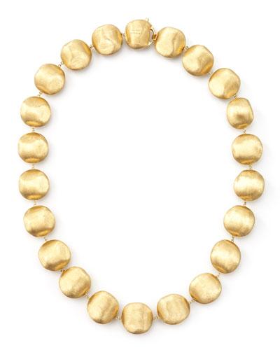 Africa Gold Medium Bead Necklace, 17