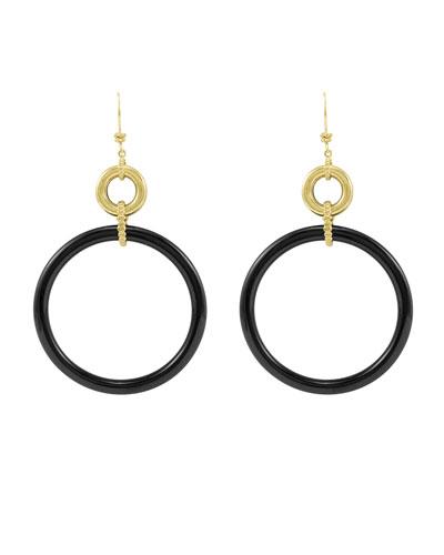18k Black Agate Circle Drop Earrings