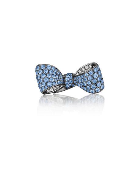 Mimi So Bow Large 18k Gold Sapphire & Diamond Ring Mkk2z2sj