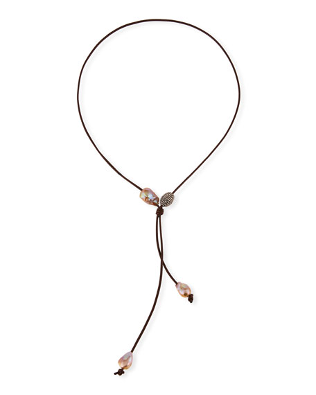 Margo Morrison Baroque Pearl Leather Lariat Necklace bktuGTUYF