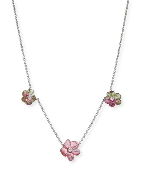Rina Limor Floral Tourmaline Station Necklace with Diamonds HYDp6qxwy
