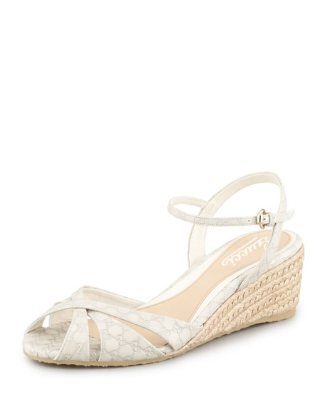 b684b19df2bf9c Gucci Penelope Leather Espadrille Wedge Sandal