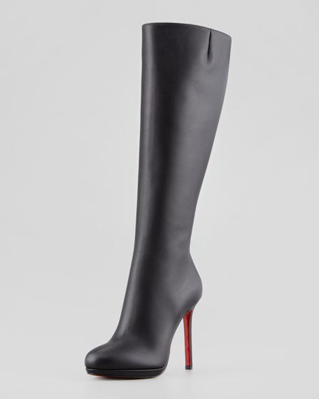 quality design ecca3 d743b Botalili Leather Red-Sole Knee Boot Black