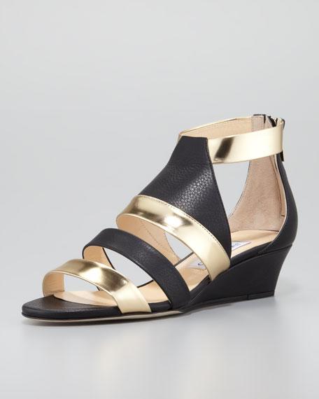 e0a86634dca Jimmy Choo Brook Low-Wedge Matte-Metallic Sandal
