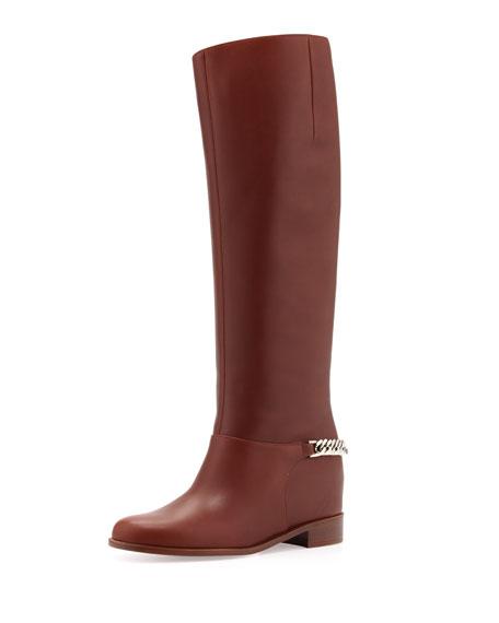 a3f871a05e6 Cate Chain-Trim Red-Sole Knee Boot Brown