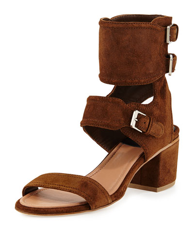 Suede Ankle Cuff Sandal, Brown