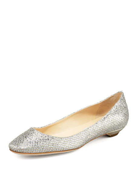 Jimmy Choo Glitter Square-Toe Flats Manchester for sale perfect huge surprise for sale ZxCOaSOf