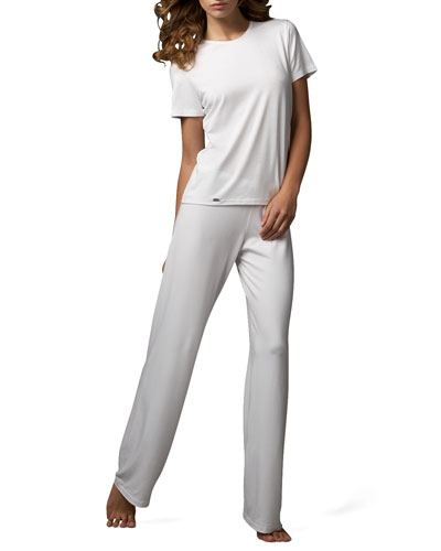 Tricot Short-Sleeve Top & Relaxed Pants, White