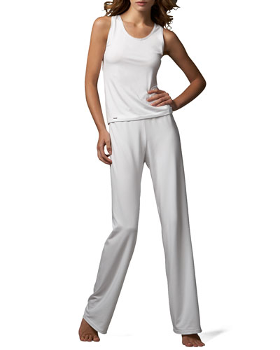 Tricot Racerback Tank & Relaxed Pants, White
