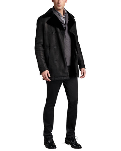 Double-Breasted Shearling Coat, Shawl-Collar Sweater & Straight-Leg Twill Pants