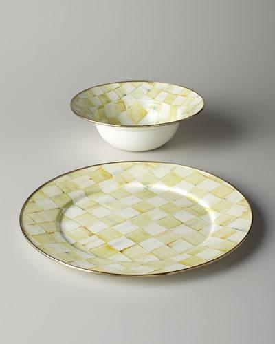 Parchment Check Serving Platter & Bowl