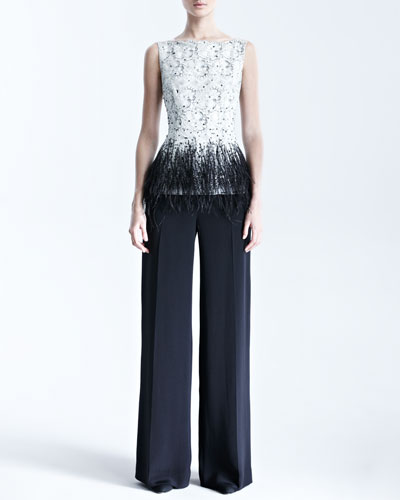 Sleeveless Lace Blouse & Silk Crepe Pants