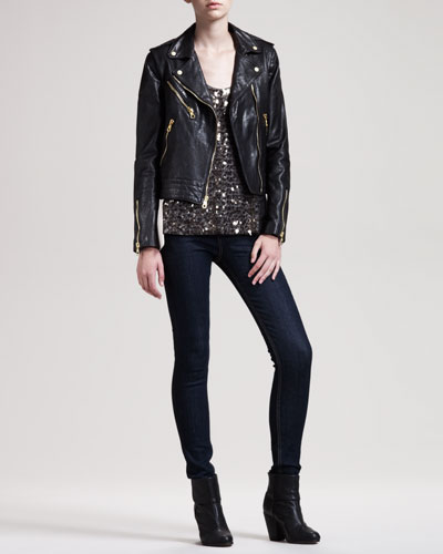 Bowery Leather Jacket, Bahia Sequined Top & The High-Rise Skinny Heritage Jeans