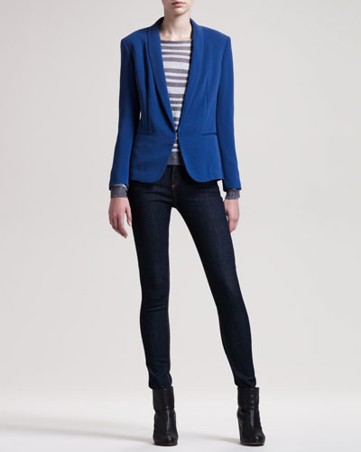 Sliver Tuxedo Jacket, Gansevoort Striped Top & The High-Rise Skinny Heritage Jeans