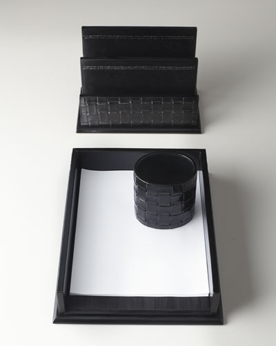 Black Woven Leather Desk Accessories