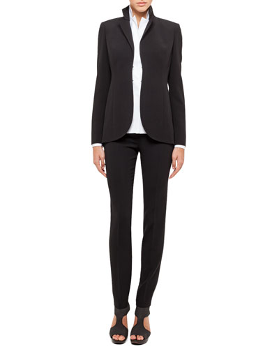Short Evening Jacket, Long-Sleeve Notched-Collar Poplin Blouse & Carla Classic Pants