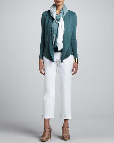 Silk-Cotton Jacket, Cowl-Neck Tank, Jersey Tank, Ombre Scarf & Slim Ankle ...