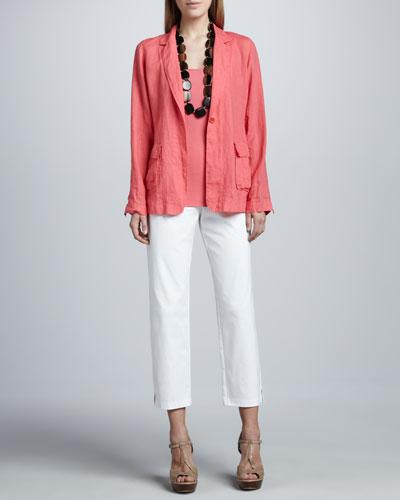 Handkerchief Linen Notch-Collar Jacket, Organic Cotton Tank & Slim Ankle Pants