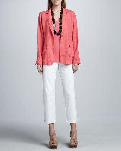 Handkerchief Linen Notch-Collar Jacket, Organic Cotton Tank & Slim Ankle ...