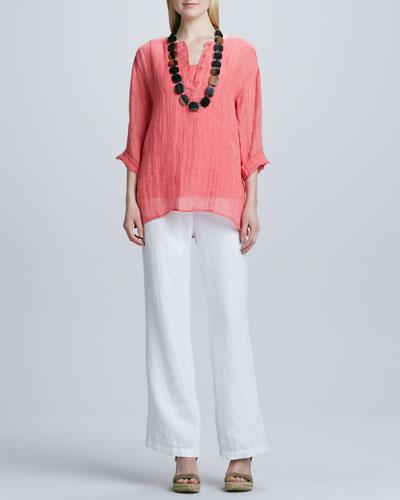 Striped Linen Henley Shirt, Organic-Cotton Long Tank & Heavy Linen ...