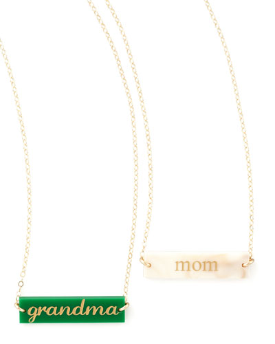 Enamel Bar Pendant Necklace