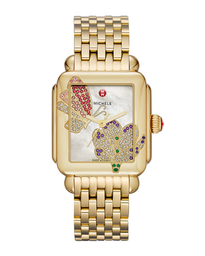 Limited Edition Deco Jardin Gold Diamond-Dial Watch Head & 18mm Deco Gold Bracelet Strap