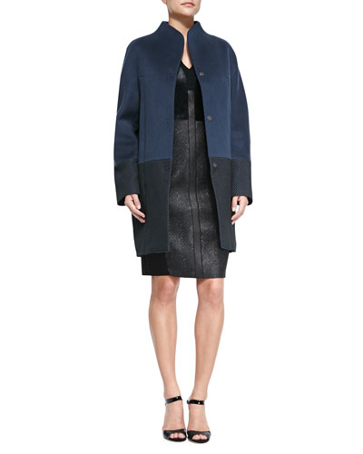 Dalia Double-Breast Hidden-Placket Coat & Lane Combo Calf Hair/Leather ...