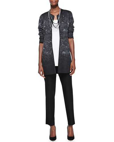 Felted Sprinkle-Print Wool Jacket, Long Silk Tunic, Stretch-Crepe Ankle ...