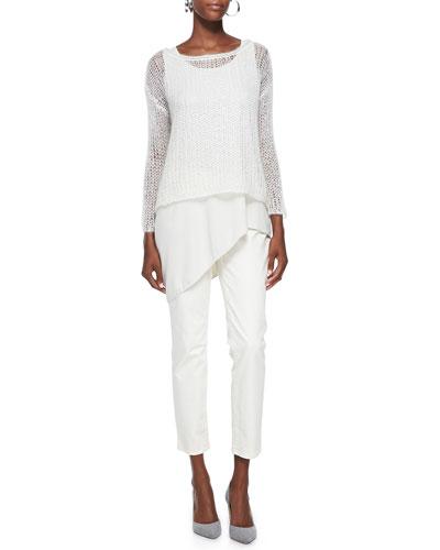 Mohair Mesh Long-Sleeve Top, Silk Asymmetric Draped Shell & Slim Stretch ...
