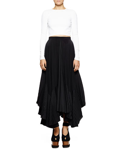 Open-Back Cropped Knit Sweater & Pleated-Inset A-Line Silk Skirt