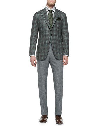 Plaid Soft Jacket & Wool-Flannel Trousers