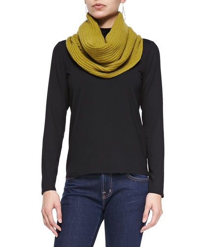 Scrunch-Neck Long-Sleeve Top & Yak & Merino Ribbed Infinity Scarf